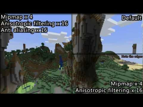Comparison of Optifine Anti Aliasing, Mipmapping and Anisotropic filtering (Details in the comments)