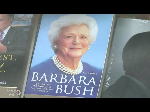 People traveling to the Bush Library in College Station to remember Barbara Bush