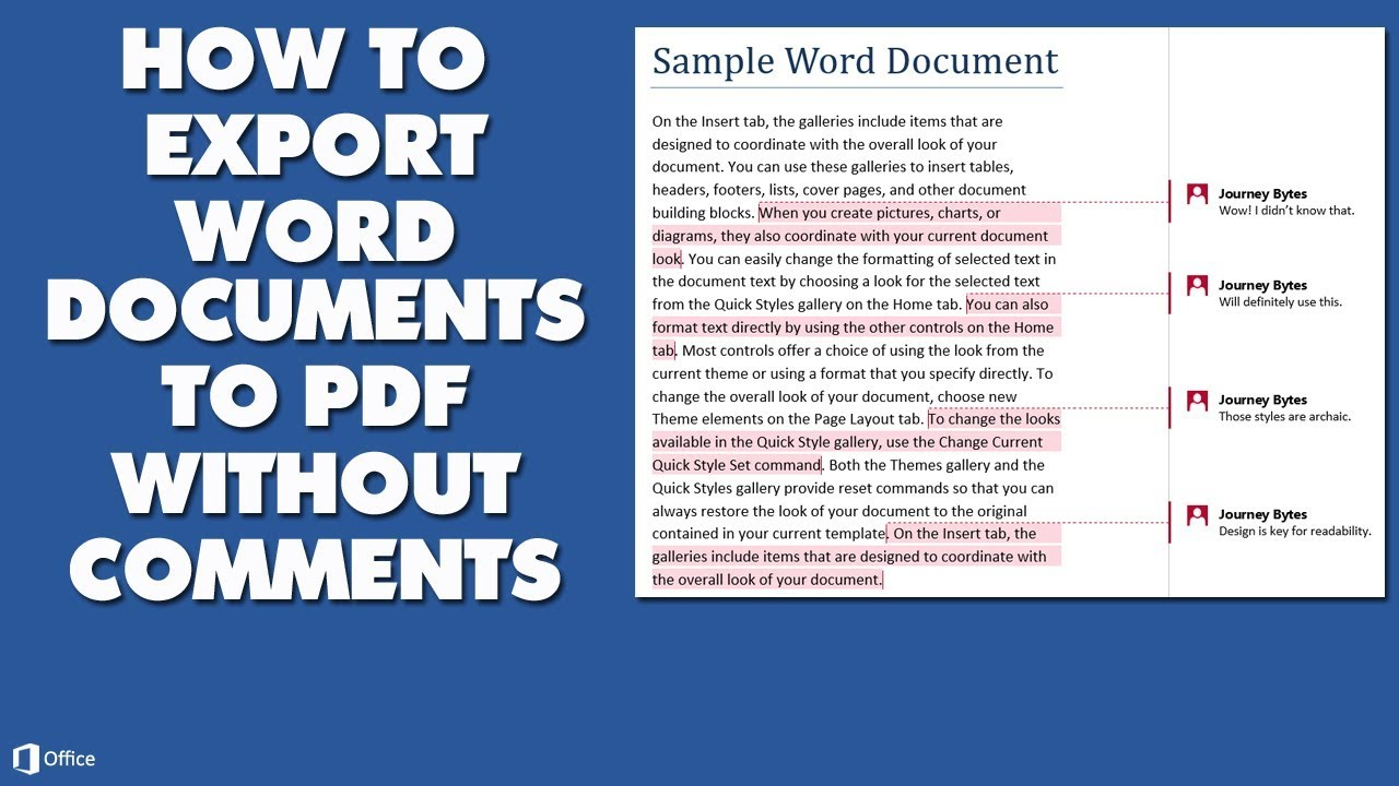 Export pdf comments