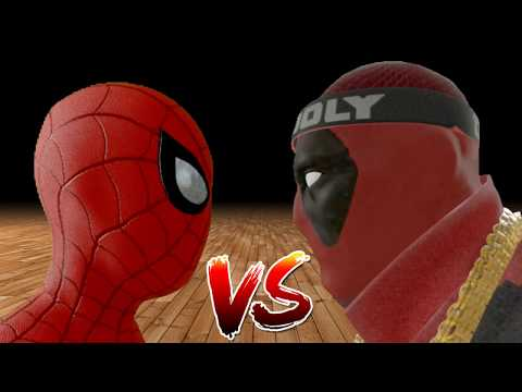Spiderman vs Deadpool in Basketball