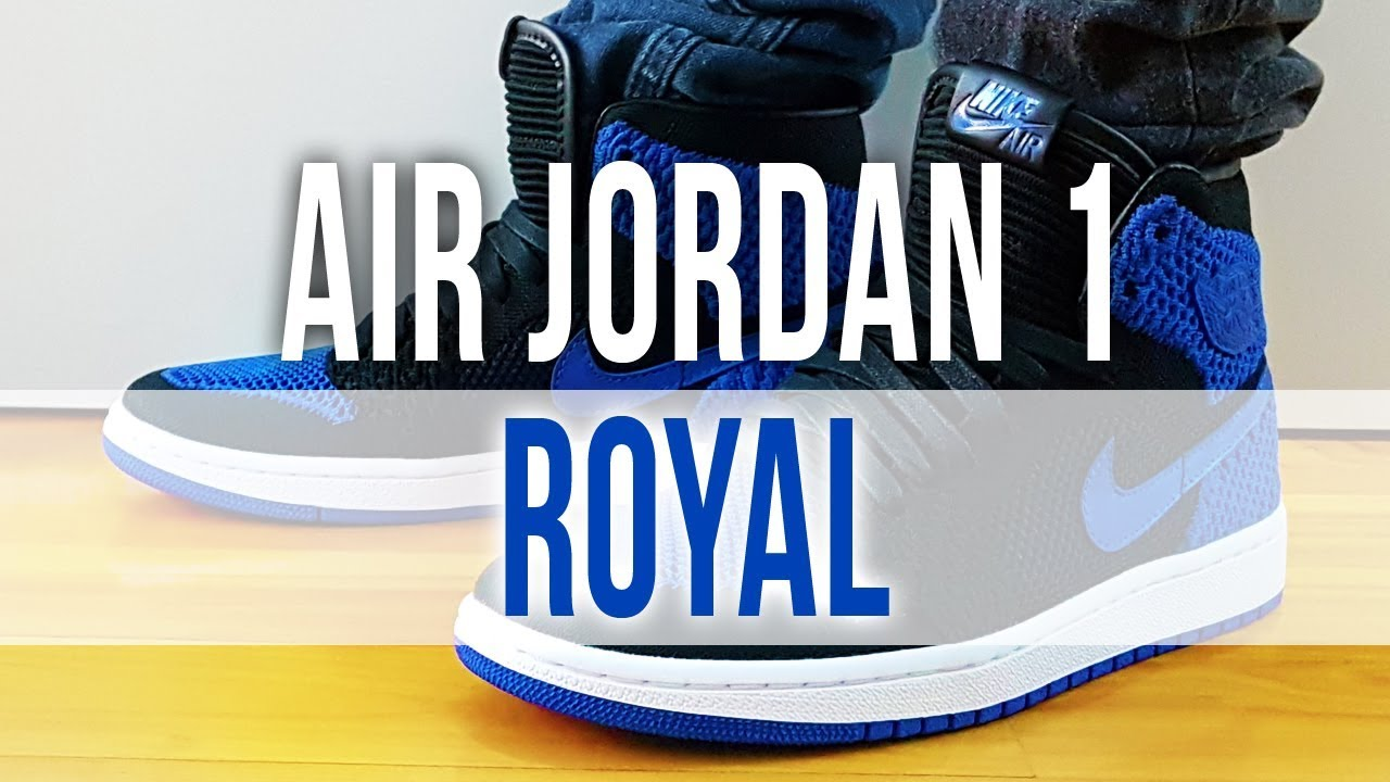 47f9f2f775eb AIR JORDAN 1 RETRO HIGH FLYKNIT ROYAL 2017 on Feet and Close Up ...