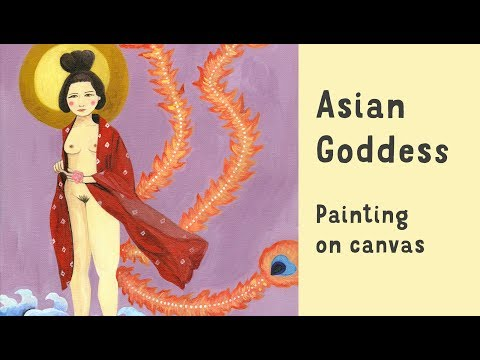 Erotic Art - Chinese Goddess Nude Painting - Acrylics on Can