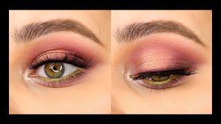 Розовый макияж с пигментами на день или на вечер