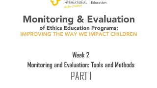 Week 2 M&E tools and methods PART I