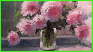 Урок живописи маслом Пионы Александр Южаков +79857776200