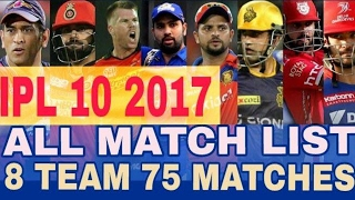 Vivo IPL 2017 - IPL 10 Match schedule and time table 2017