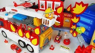 Pororo Transforming Fire Engine car and Fire Station toys ambulance play 뽀로로 변신 소방차 소방서 장난감놀이 - 토이몽