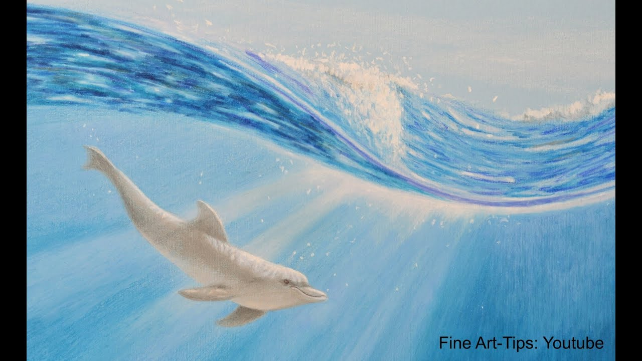 How To Draw A Dolphin Underwater With Color Pencils  Wie Malt Man Einen  Delfin Unter Wasser  Youtube