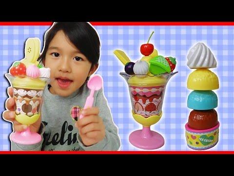 ●普段遊び●アイスとパフェ屋さんごっこで遊んだよ♡まーちゃん【5歳】おーちゃん【3歳】