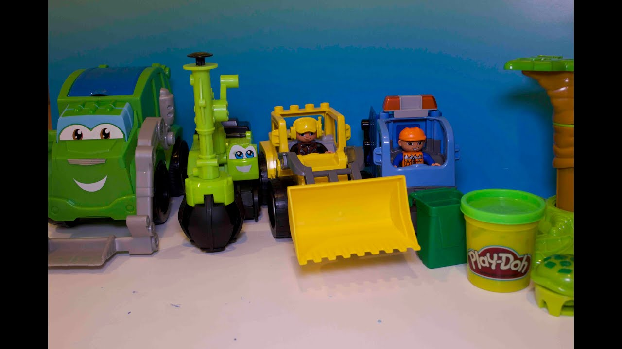 Play Doh Mighty Machines Excavator Digger Garbage Truck