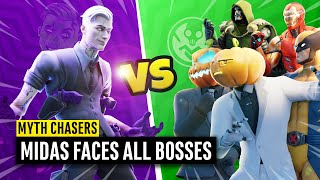 Boss Midas versus *ALL* other Bosses (Wolverine, Ironman, Doom, Henchmen) | Fortnite Myth Chasers