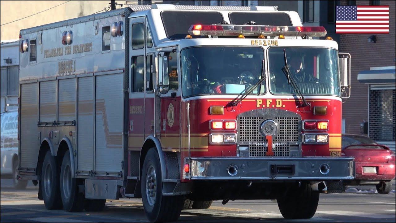 PFD Rescue 1 fire truck responding with air horn, siren & lights