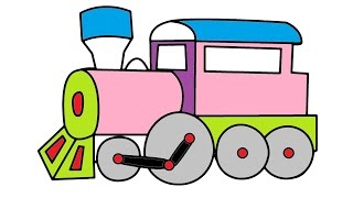 TRAIN video for children Train car road signs COLORING for kids