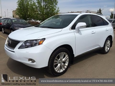 Pre Owned White 2010 Lexus Rx 450h Awd Hybrid Touring Package Review Edmonton Canada