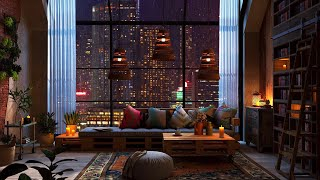 New York Apartment | Rain on Window | Cozy Reading Nook Ambience