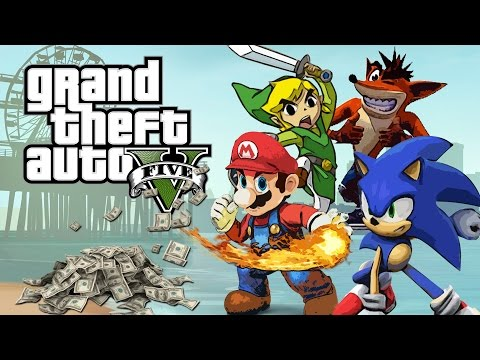 GTA 5: Mario, Link, Sonic & Crash - Bank Heist (GTA V PC Mods)