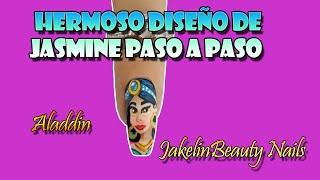 DISEÑO DE JASMINE PARA UÑAS PASO A PASO  HERMOSA CARICATURA DE ALADDIN