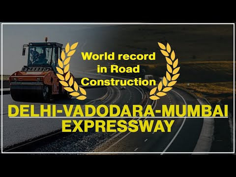 World record in road construction on the Delhi - Vadodara - Mumbai expressway.