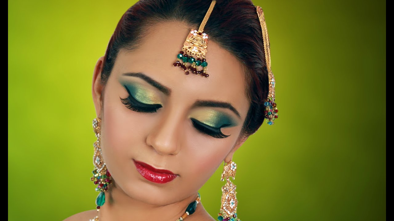 Jade Green Gold Indian Bridal Makeup Tutorial Asian Arabic Pakistani Contemporary Wedding Look