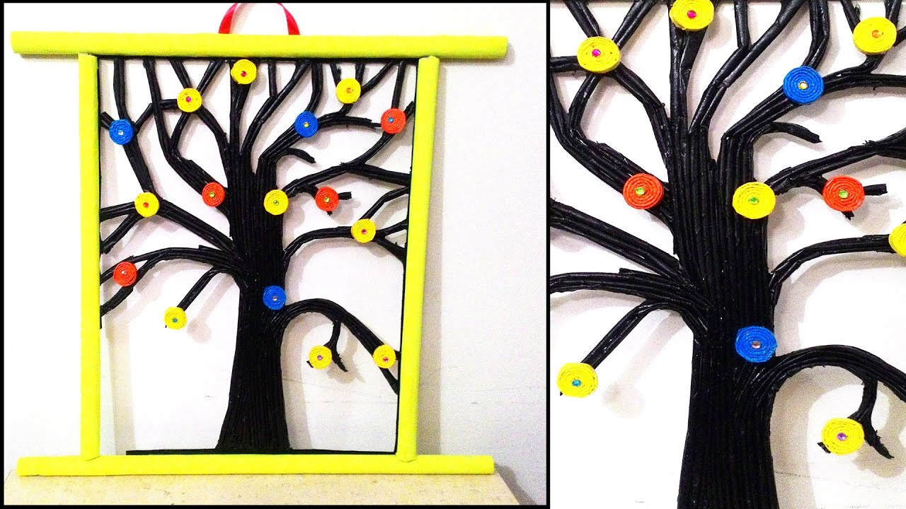 Newspaper tree wall hanging diy wall hanging youtube for Best out of waste environment