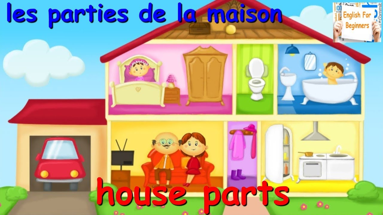 apprendre l 39 anglais les parties de la maison en anglais youtube. Black Bedroom Furniture Sets. Home Design Ideas