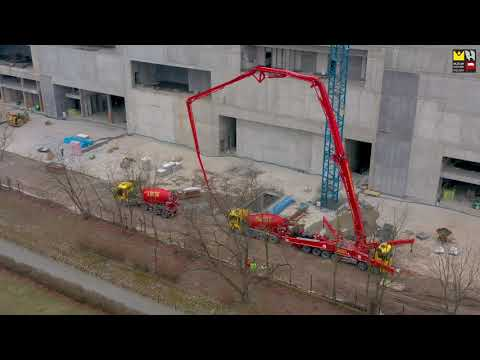 Budowa MHP - betonowanie płyty stropodachu (marzec 2021)