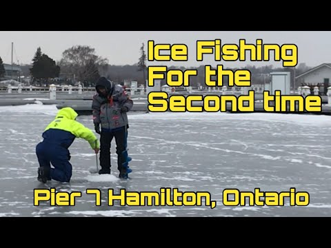ICE FISHING FOR THE SECOND TIME ( Pier 7 In Hamilton, Ontario)
