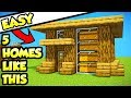 Minecraft 5 Easy Starter Survival House Tutorials (How To Build + Ideas)