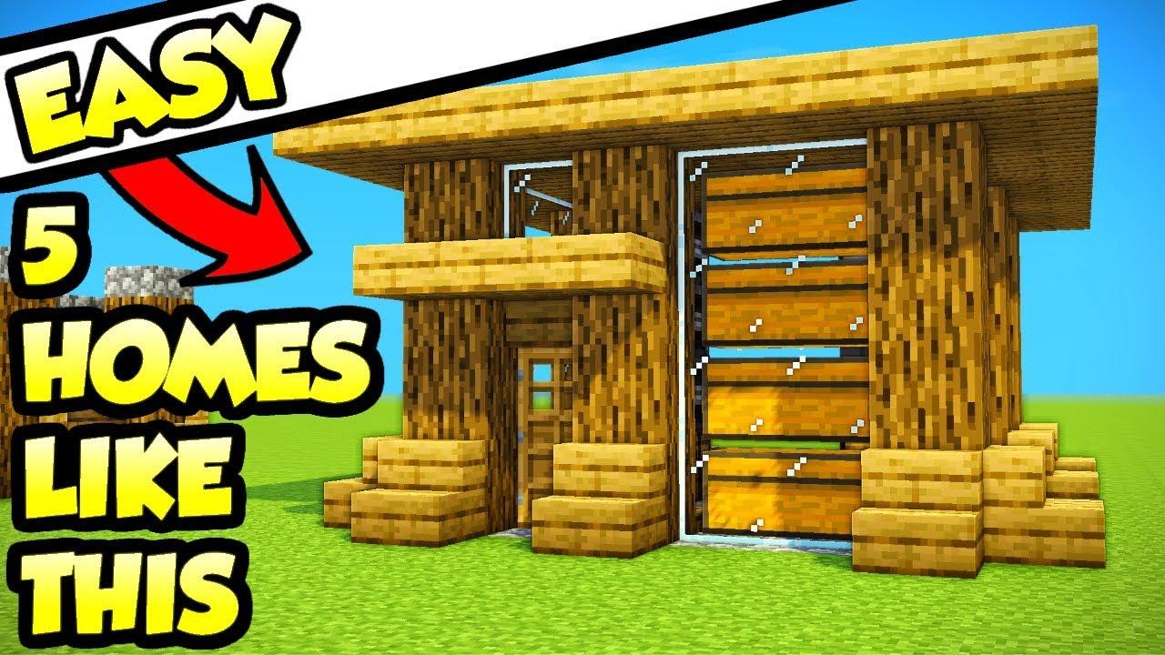Minecraft 5 Easy Starter Survival House Tutorials (How to ...