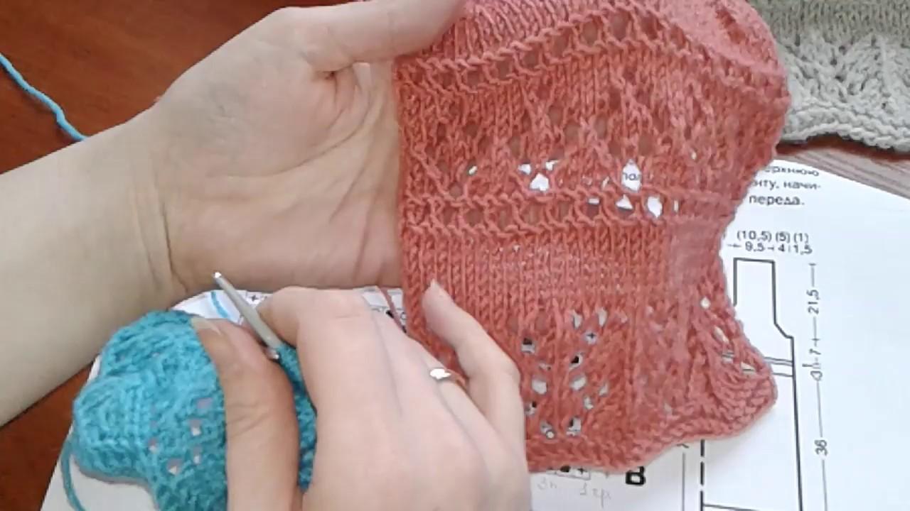 Ажурное платье спицами часть 2