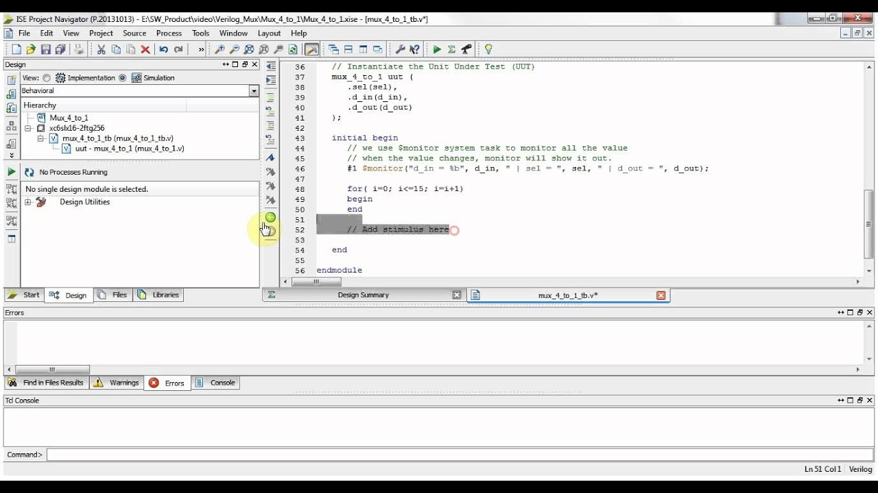 Xilinx ISE Verilog Tutorial 02: Simple Test Bench