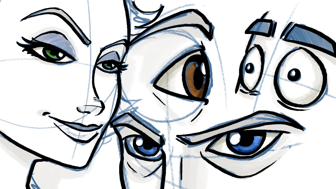Cartoon Characters Eyes : How to draw eyes for comic and cartoon characters youtube