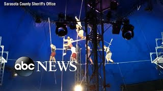 New video shows collapse of 8-person pyramid balancing on wire 25 feet above ground