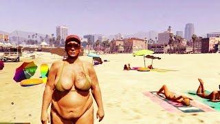 GTA 5 - Gorda de biquíni solta puns poderosos e apavora a galera na praia !