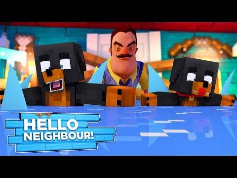 Minecraft HELLO NEIGHBOR - THE NEIGHBOR HAS VISCIOUS ICE SHARKS IN HIS BASEMENT!!