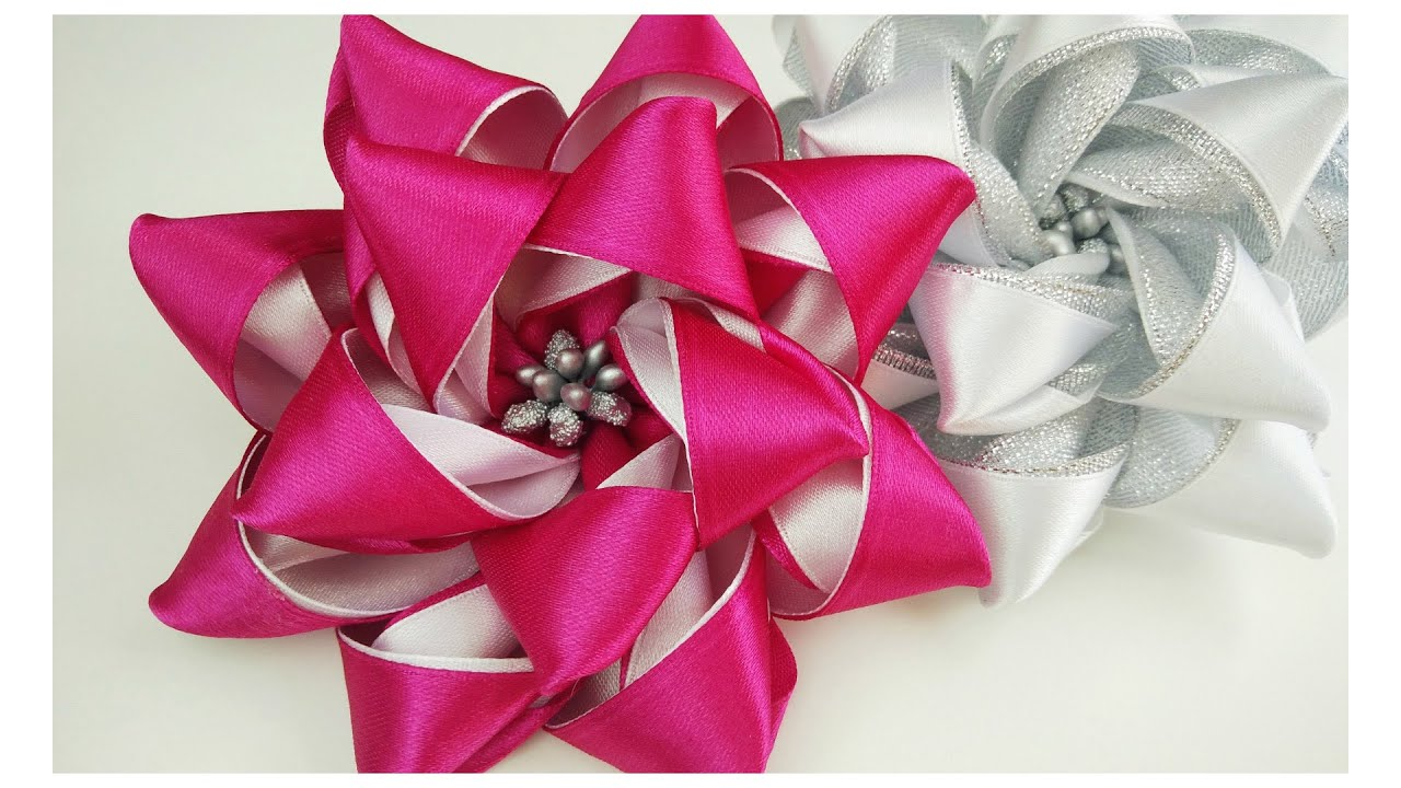 Diy Ribbon Flower Youtube