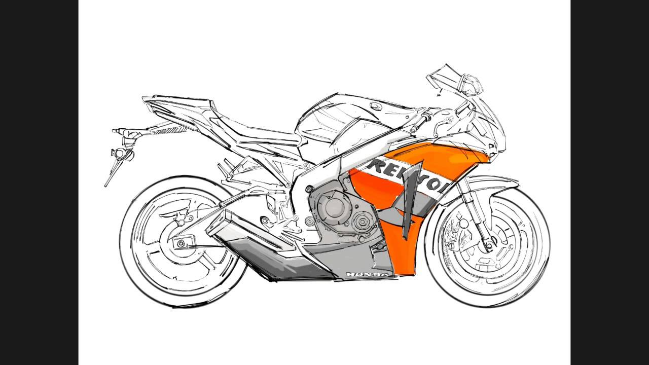 How to draw sport bike from the screach - YouTube