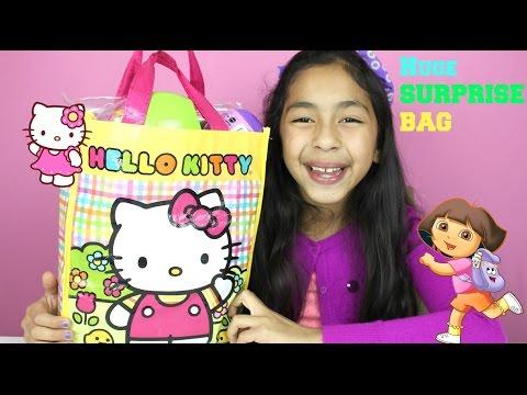 Huge Hello Kitty Surprise Bag|Dora the Explorer Activity Kit| Surprise Egg|B2cutecupcakes