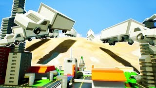 LEGO TRUCK FLEET DRIVES OFF OF CLIFF AND CRASHES INTO CITY! - Brick Rigs Workshop Creations Gameplay