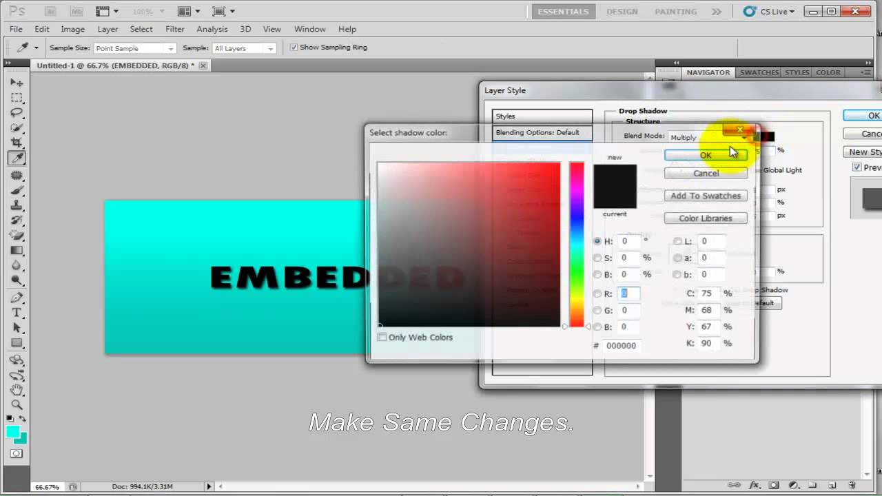 Creating Embedded Text in Adobe Photoshop CS6
