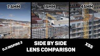 DJI Inspire 2 - X5S - Laowa 7.5mm vs DJI 15mm vs Olympus M. Zuiko 45mm Lens Comparison SIDE BY SIDE