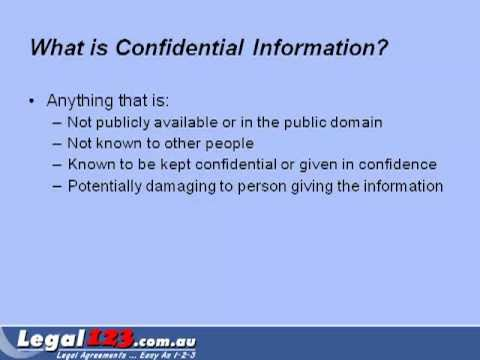 Confidentiality Agreement Legal123au YouTube – Medical Confidentiality Agreement