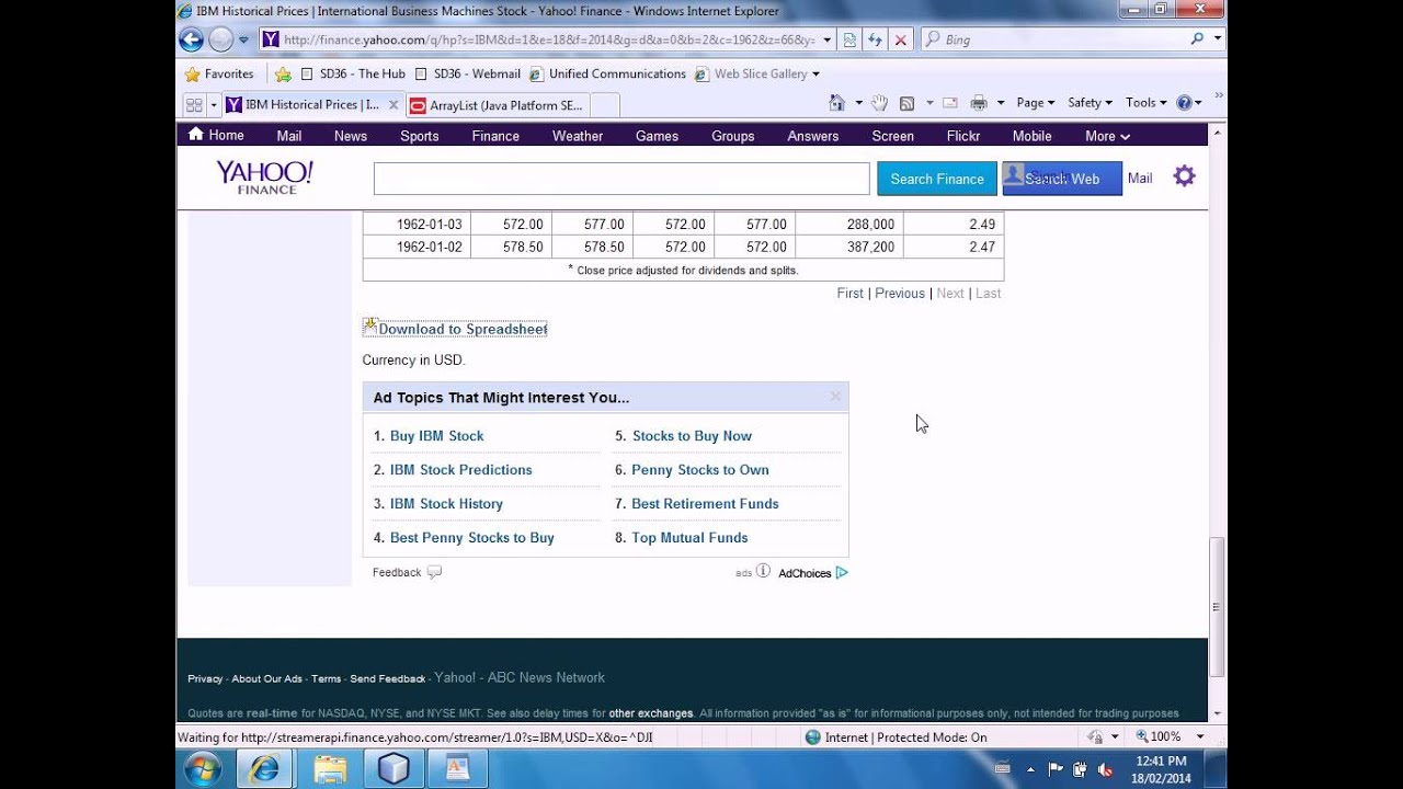 Mr Joyce Ing Historical Stock Quotes From Yahoo Finance In Java Ictp12