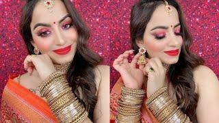 Traditional Karwachauth Makeup Tutorial 2020 घर पे कैसे करें करवाचौथ मेकअप | Deepti Ghai Sharma