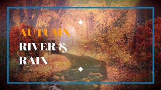 Autumn River& Rain  Sounds Falling leaves  Relaxing Nature  - Sleep/ Relax/ Study - 3 Hrs - HD 1080p