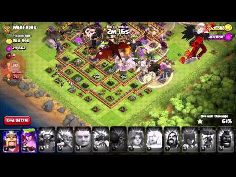 Clash of Clans Kings and Queens Troops Max Level Attack