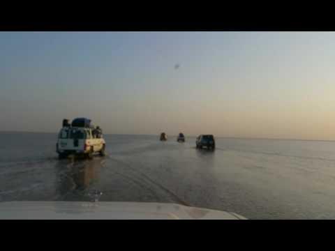 Crossing the salt lake Assal, DANAKIL Depression