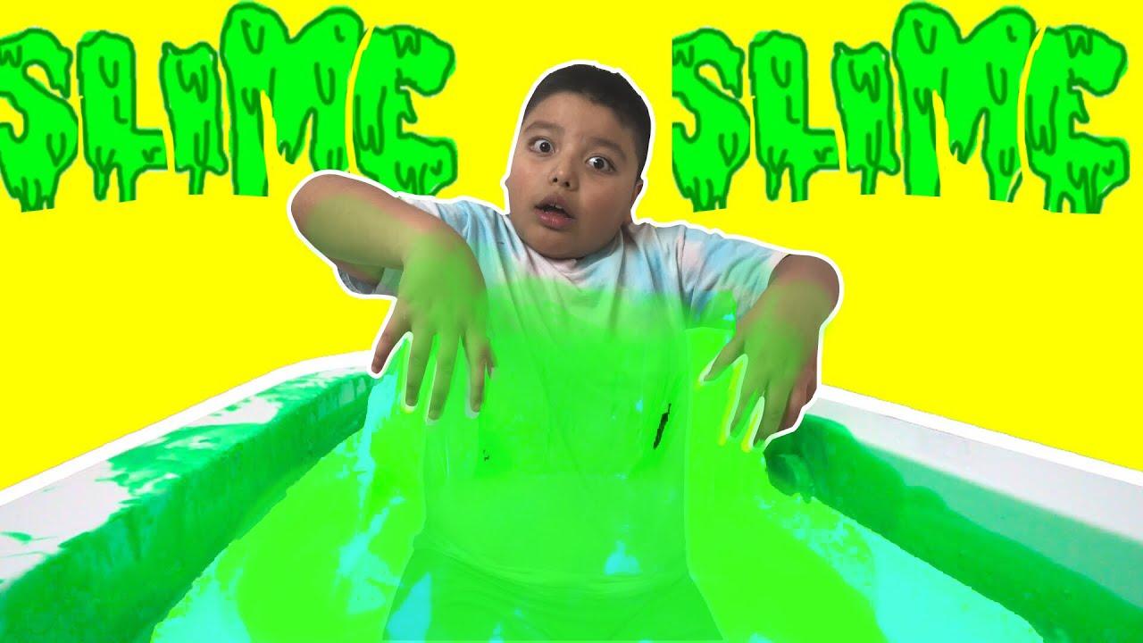 SLIME BATH CHALLENGE! Squishy Slime Baff Toy Challenge ooze baff - YouTube