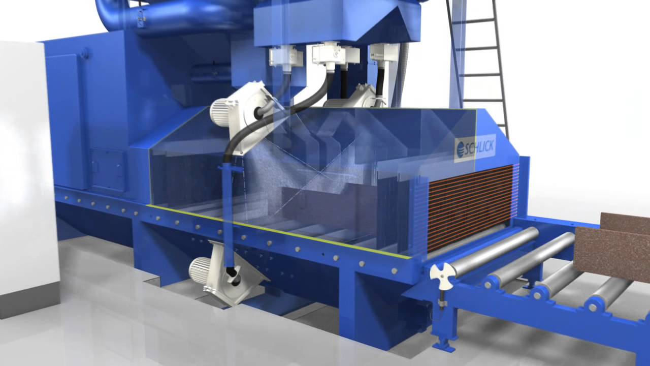 Roller Conveyor Shot Blast Machine - YouTube