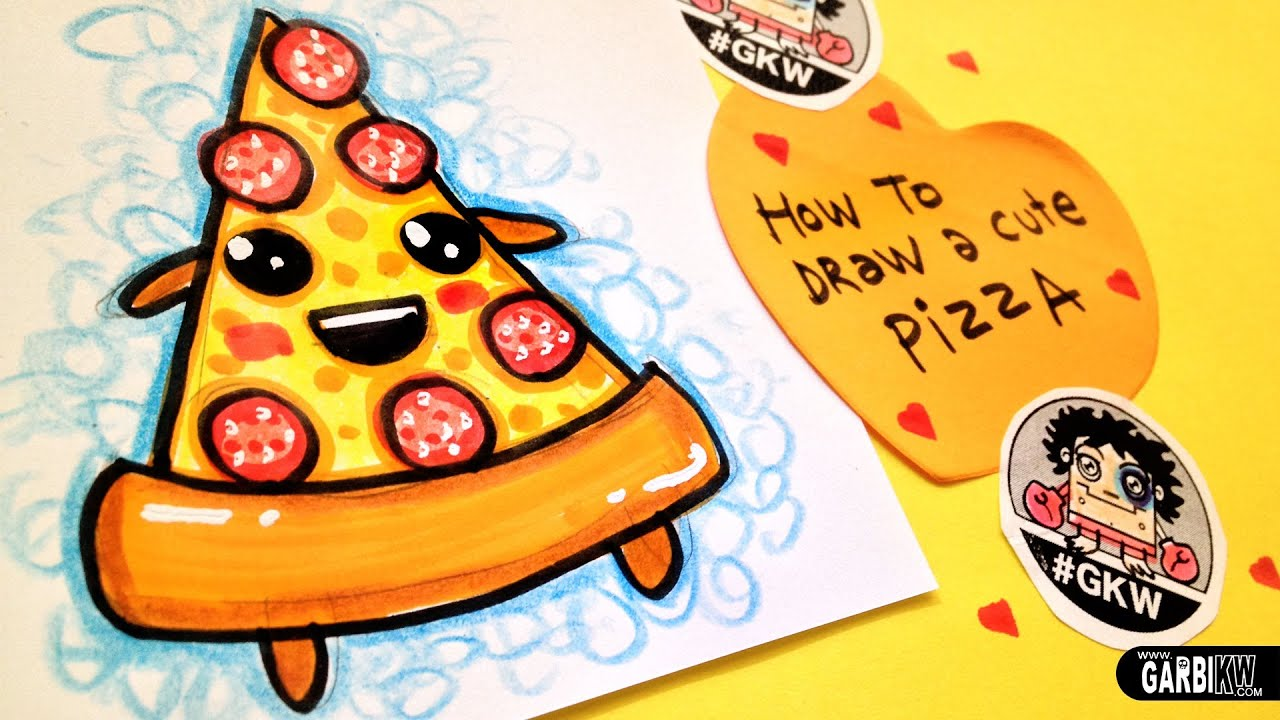 How To Draw A Cute Pizza - Easy and Kawaii Drawings by ...